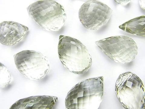 High Quality Green Amethyst AAA - Drop Faceted Briolette 3pcs $27.99
