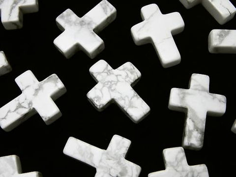 1pc $2.19! Howlite Magnesite Cross 20 x 15 mm (Half Drilled Hole) 1 pc