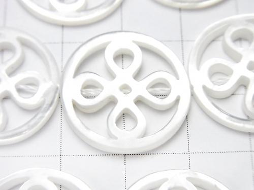 High Quality White Shell Coin Watermark Motif 20 x 20 x 2 mm half or 1 strand (apr x 14 inch / 35 cm)