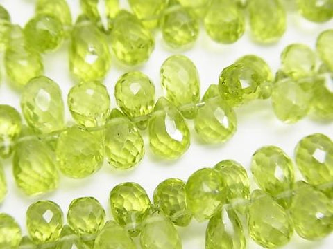High Quality Peridot AAA- Drop  Faceted Briolette  1/4 or strand (aprx.7inch/18cm)