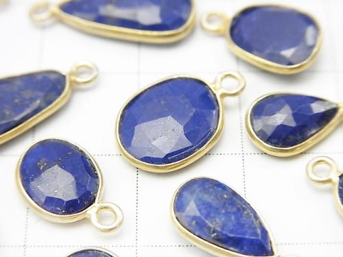Lapislazuli AA ++ Bezel Setting Rose Cut [Free Form] [One Side] 18KGP 3pcs $8.79!