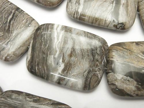 Silver leaf Jasper rectangle 40 x 30 x 10 mm half or 1 strand (aprx.15 inch / 36 cm)