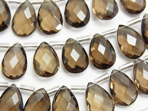 High Quality Smoky Crystal Quartz AAA Pear shape  Faceted Briolette 12x8mm half or 1strand (15pcs )
