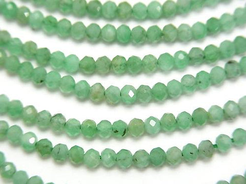 Diamond Cut! High Quality Brazil Emerald AAA - Small Size Faceted Button Roundel 2.5 x 2.5 x 2 mm half or 1 strand (aprx. 12 inch / 30 cm)