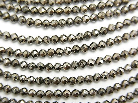 Diamond Cut! 1strand $5.79! Pyrite AAA - Dark Gray Coating Faceted Round 2 mm 1 strand (aprx.12 inch / 30 cm)