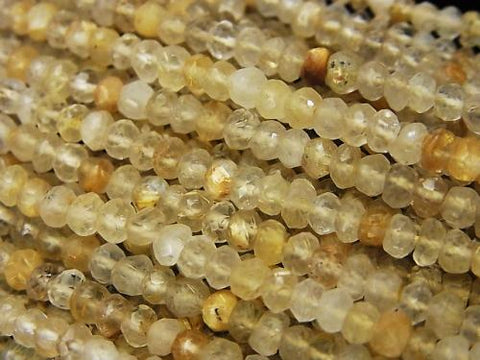 1strand $14.99Rutilated Quartz AA++ Faceted Button Roundel  1strand (aprx.13inch/32cm)