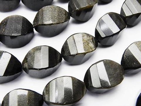 Golden Shine Obsidian 4 Faceted Twist Rice xMultiple Facets 17 x 10 x 10 mm half or 1 strand