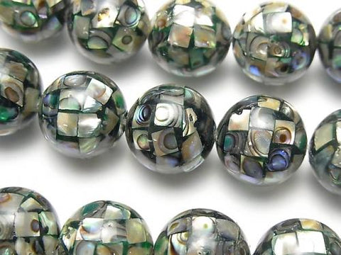 Mosaic Shell Black Round 14 mm 1/4 or 1strand (aprx.14 inch / 35 cm)