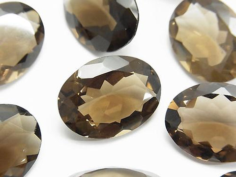 High Quality Smoky Crystal Quartz AAA Undrilled Oval Faceted 20x15mm 4pcs $29.99!