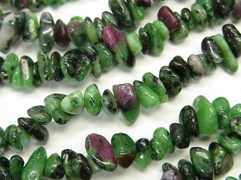 1strand $3.79! Ruby In Zoysite Chips (Small Nugget) 1strand (aprx.34inch / 86cm)