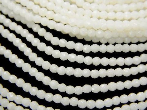 1strand $11.79! White Coral (white coral) Faceted Round 2mm 1strand (aprx.15inch / 38cm)