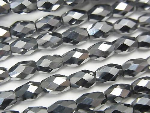 Diamond Cut!  Terahertz  Faceted Rice 6x4x4mm half or 1strand (aprx.15inch/38cm)