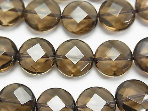 Smoky Crystal Quartz AAA Faceted Coin 12x12x6mm half or 1strand (aprx.15inch/36cm)