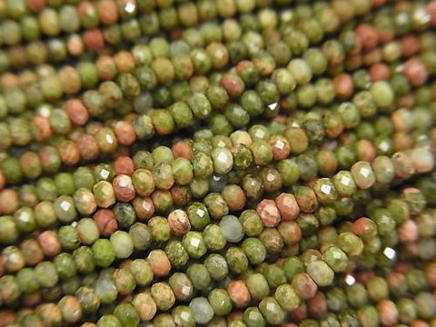 Diamond Cut!  1strand $7.79! Unakite  Faceted Button Roundel 2x2x1.5mm 1strand (aprx.15inch/38cm)