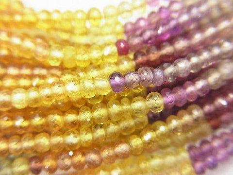 MicroCut! Top Quality Multicolor Sapphire AAA + Faceted Button Roundel 1/4 or 1strand (aprx.16inch / 40cm)
