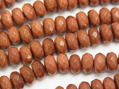 1strand $9.79! Golden Sand Stone Faceted Button Roundel 8x8x5mm 1strand (aprx.15inch/38cm)