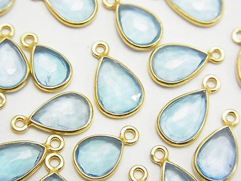 High Quality Swiss Blue Topaz AAA Bezel Setting Rose Cut [Pear shape] [One Side] 18KGP 5pcs $26.99!