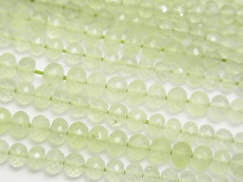 MicroCut!  High Quality Prehnite AAA Faceted Button Roundel  half or 1strand (aprx.16inch/40cm)