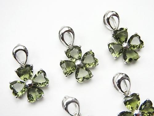 High Quality Moldavite AAA Faceted Clover Frame Pendant 12 x 12 x 3 mm Silver 925 1 pc
