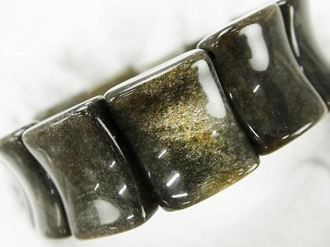 Golden Shine Obsidian AAA Two Hole Rectangle 20 x 16 x 8 mm 1strand (Bracelet)