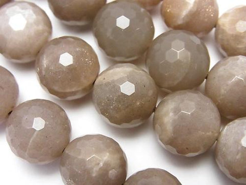 Brown Moon Stone AA + 128 Faceted Round 12 mm 1/4 or 1 strand (aprx.15 inch / 38 cm)