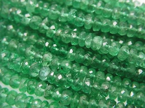 Zambia High Quality Emerald AAA Faceted Button Roundel 1/4 or 1strand (aprx.14inch / 34 cm)