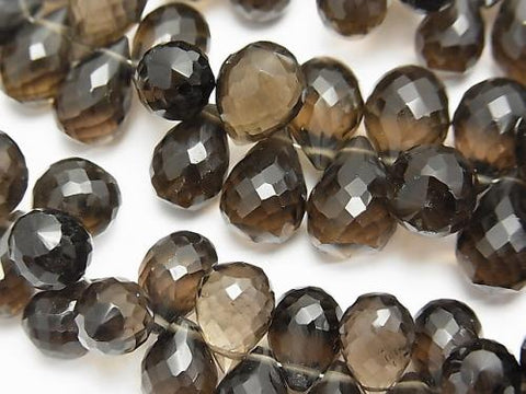 High Quality Smoky Crystal Quartz AAA Drop  Faceted Briolette  half or 1strand (aprx.7inch/18cm)