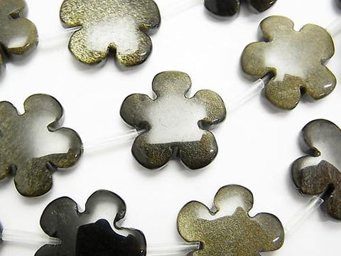 Golden Shine Obsidian AAA Flower 20 x 20 mm half or 1 strand (aprx.15 inch / 36 cm)