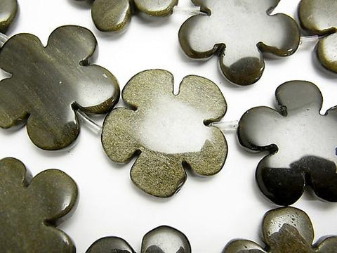 Golden Shine Obsidian AAA Flower 30 x 30 mm half or 1 strand (aprx. 13 inch / 32 cm)