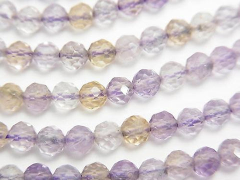 Diamond Cut! Light Color Amethyst xCitrine AA ++ 32 Faceted Round 4 mm 1strand (aprx.15 inch / 38 cm)
