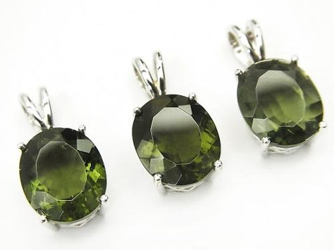 High Quality Moldavite AAA Oval Faceted  Pendant 12x10x7mm Silver925