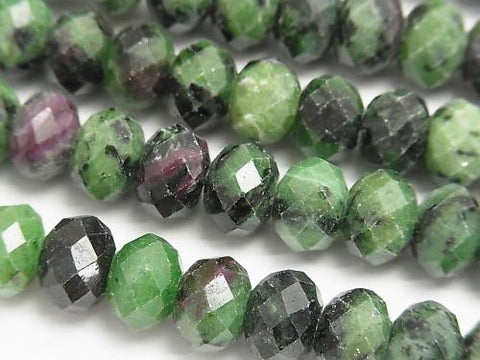 Diamond Cut! Ruby in Zoysite Faceted Button Roundel 10 x 10 x 7 mm half or 1 strand (aprx.15 inch / 38 cm)