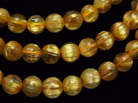 1strand $79.99! Top Quality Titin Rutilated Quartz AAA Round 6mm 1strand (Bracelet)