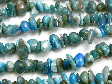 1strand $5.79! Madagascar Blue Apatite AA Chips (Small Nugget) 1strand (aprx.34inch / 86cm)