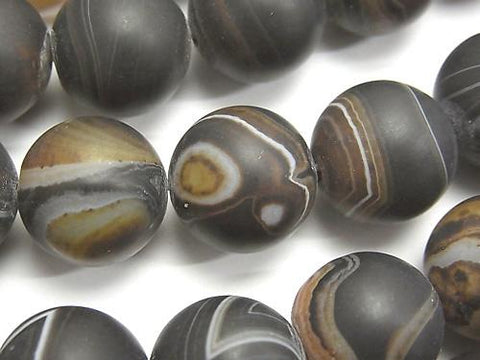 Frost Brown Stripe Agate Round 16 mm half or 1 strand (aprx. 14 inch / 35 cm)