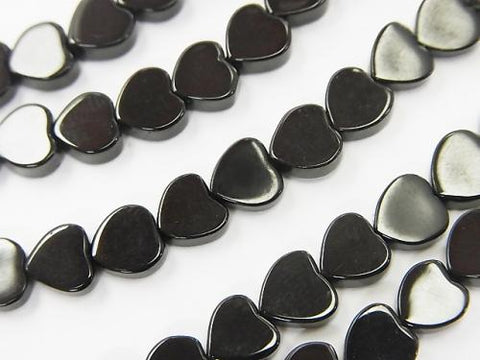 Black Tourmaline AAA - Vertical Hole Heart 6 x 6 x 2 mm half or 1 strand (aprx.15 inch / 38 cm)