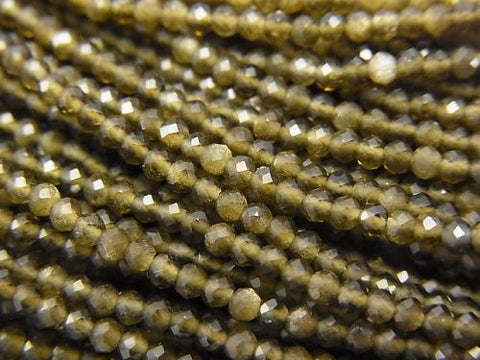 1strand $5.79! Diamond Cut! Golden Shine Obsidian AAA Faceted Round 2mm 1strand (aprx.15inch / 37cm)