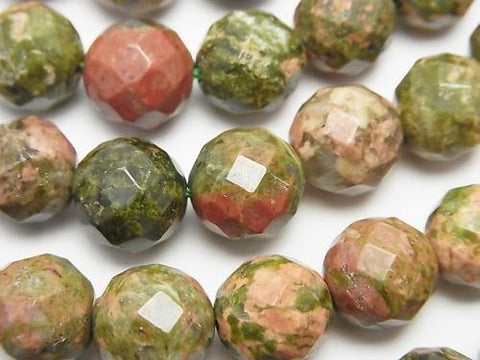 1strand $9.79! Unakite 64 Faceted Round 10 mm 1strand (aprx.15 inch / 36 cm)