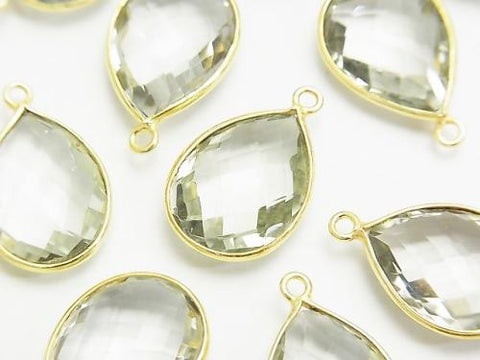 Sale! High Quality Green Amethyst AAA Bezel Set Faceted Pear Shape 17 x 13 mm 18 KGP 1 pc $6.79!