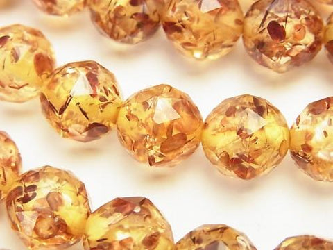 Prest Amber Triangle Faceted Round 12 mm 1/4 or 1 strand (aprx.15 inch / 36 cm)