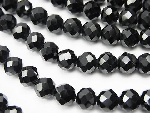 Diamond Cut! High Quality Black Spinel AAA Faceted Round  6 x 6 x 5.5 mm half or 1 strand (aprx. 15 inch / 37 cm)