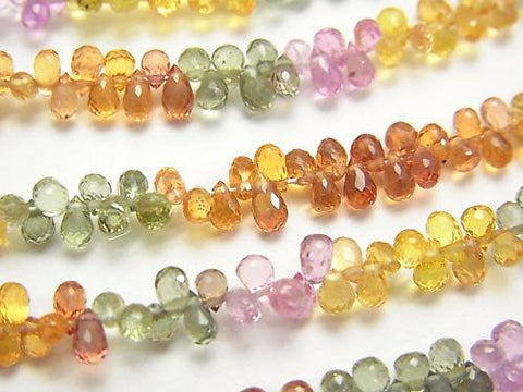 High Quality Multicolor Sapphire AAA Drop Faceted Briolette half or 1strand (aprx.7inch / 18 cm)