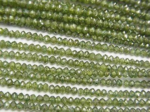 High Quality Green Diamond Faceted Button Roundel 10pcs or 1strand (aprx.15inch / 37cm)