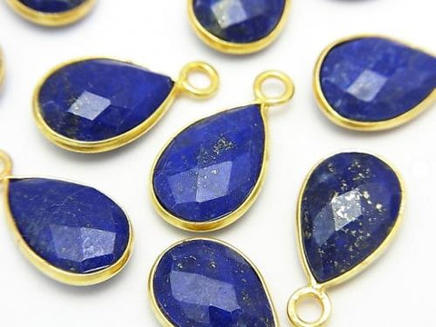 Lapislazuli AAA Bezel Setting Faceted Pear Shape 14x9mm 18KGP 3pcs $12.99!