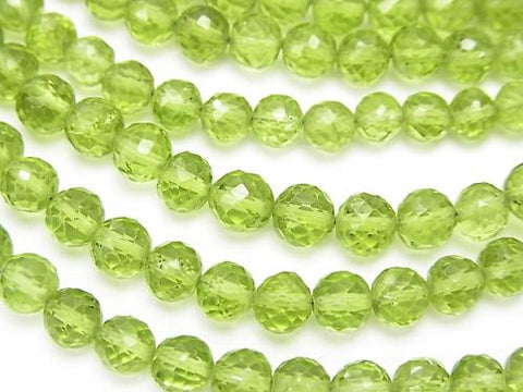 High Quality Peridot AAA- Faceted Round 4-6mm  half or 1strand (aprx.7inch/18cm)
