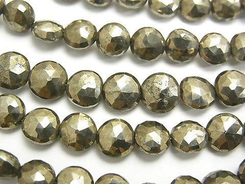 1strand $13.99! High Quality Pyrite AAA- Faceted Coin  1strand (aprx.7inch/18cm)