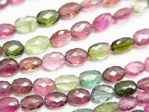 MicroCut! 1strand $137.99! Top Quality Multicolor Tourmaline AAAA Faceted Oval 1strand (aprx.4inch / 9cm)