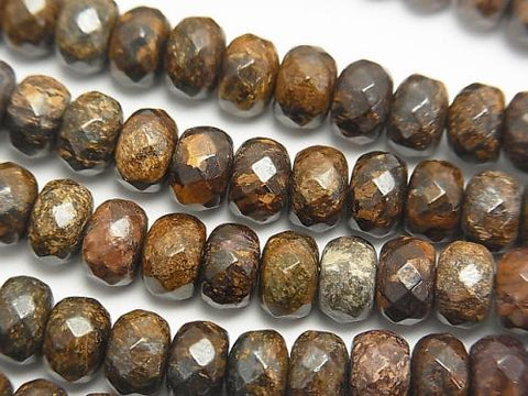 Bronzite  Faceted Button Roundel 8x8x5mm half or 1strand (aprx.15inch/38cm)