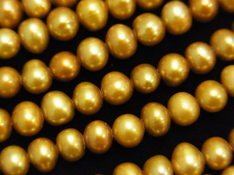 1strand $17.99! Fresh Water Pearl AAA - Potato 6 - 7mm Champagne Gold [1mm hole] 1strand (aprx.14inch / 35cm)