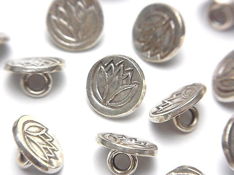 Karen Hill Tribe Silver Coin charm with Tulip Pattern (Concho) 11 x 11 x 6 mm 1 pc $2.39!